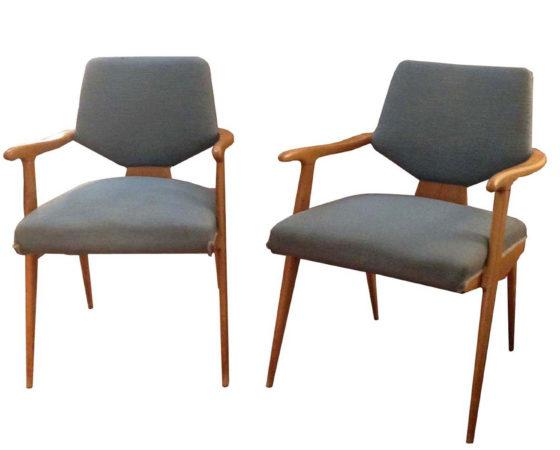 Pair of midcentury italian maplewood armchairs in Gio Ponti/Dassi style