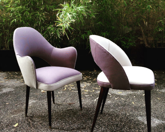 Midcentury armchairs reupholstered Designersguild cotton fabric