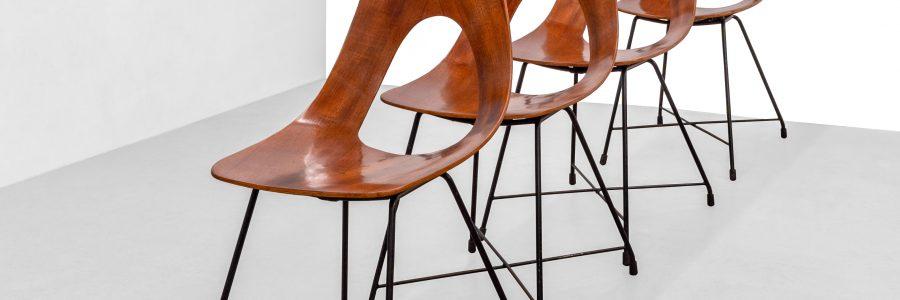 Set di 4 sedie di Augusto Bozzi prodotte da Fratelli Saporiti anni '50