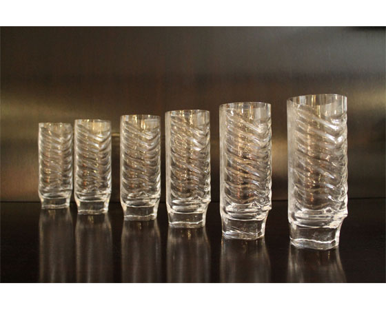 Set of 6 glasses in lead cristal designed by Fabio Frontini and produced by Arnolfo diCambio in Italy in 1970