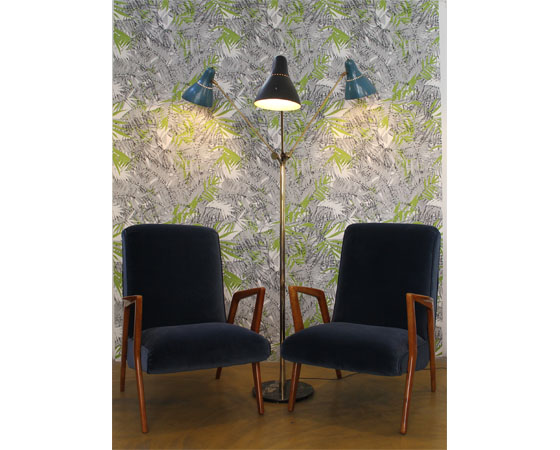 DesignersGuild fabric danish armchairs