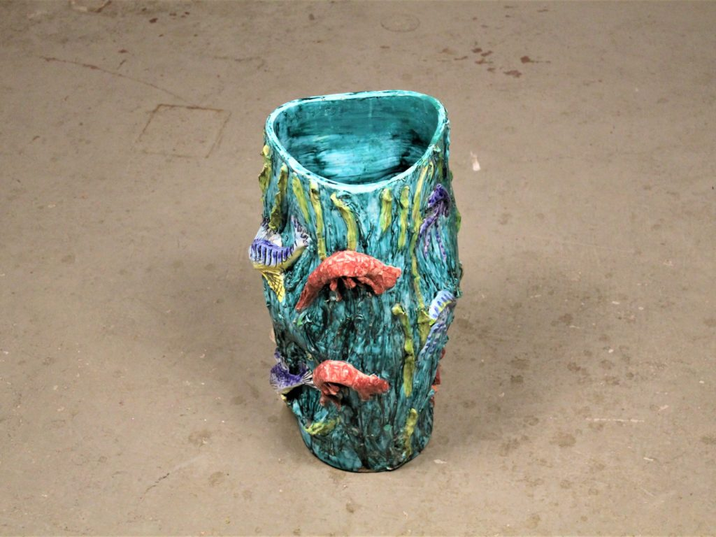 Mid century italian vase with marine animals by vietri for ceramica