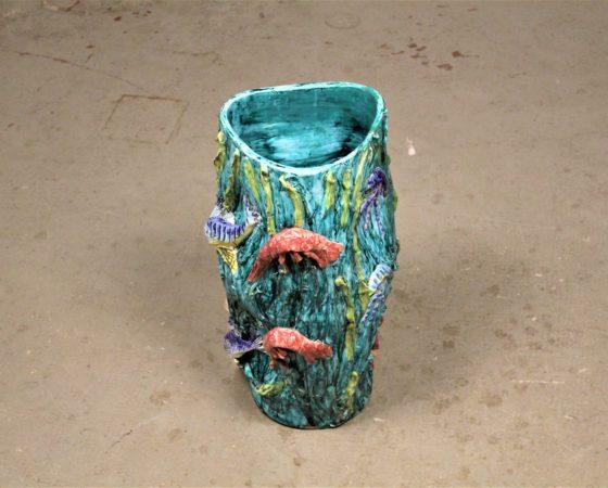 Mid-century italian vase with marine animals by Vietri for Ceramica Artistica Solimene