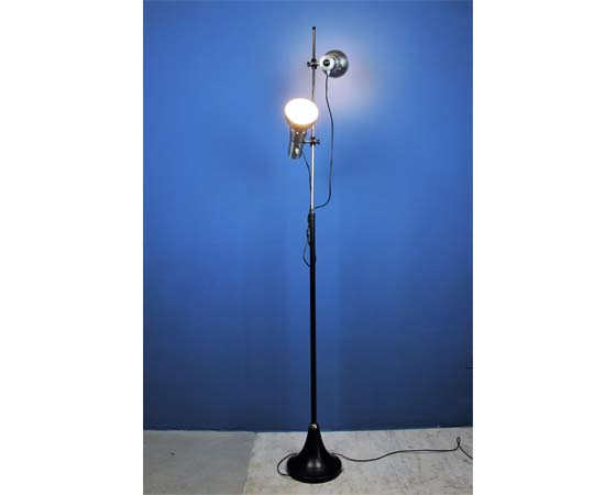 Inox and black floor lamp 60s