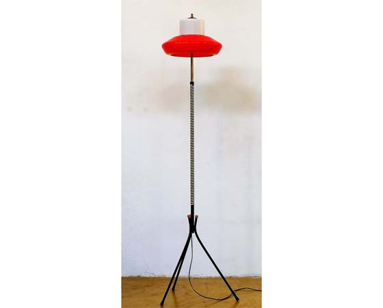 Italian mid-century red and white tripod floor lamp
