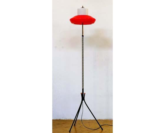 Italian mid-century red and white tripod floor lamp