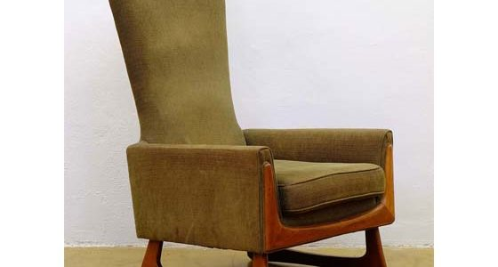 Mid-century american walnut lounge chair by Adrian Pearsal