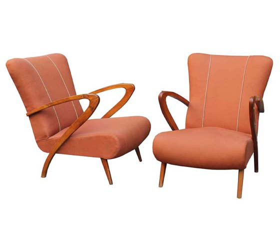 Pair of mid-century italian lounge chairs Paolo Buffa style