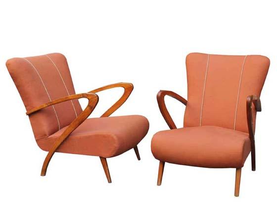 Pair mid-century italian lounge chairs Paolo Buffa style