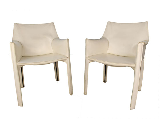 Set of two armchairs  mod.414 Cab by Mario Bellini
