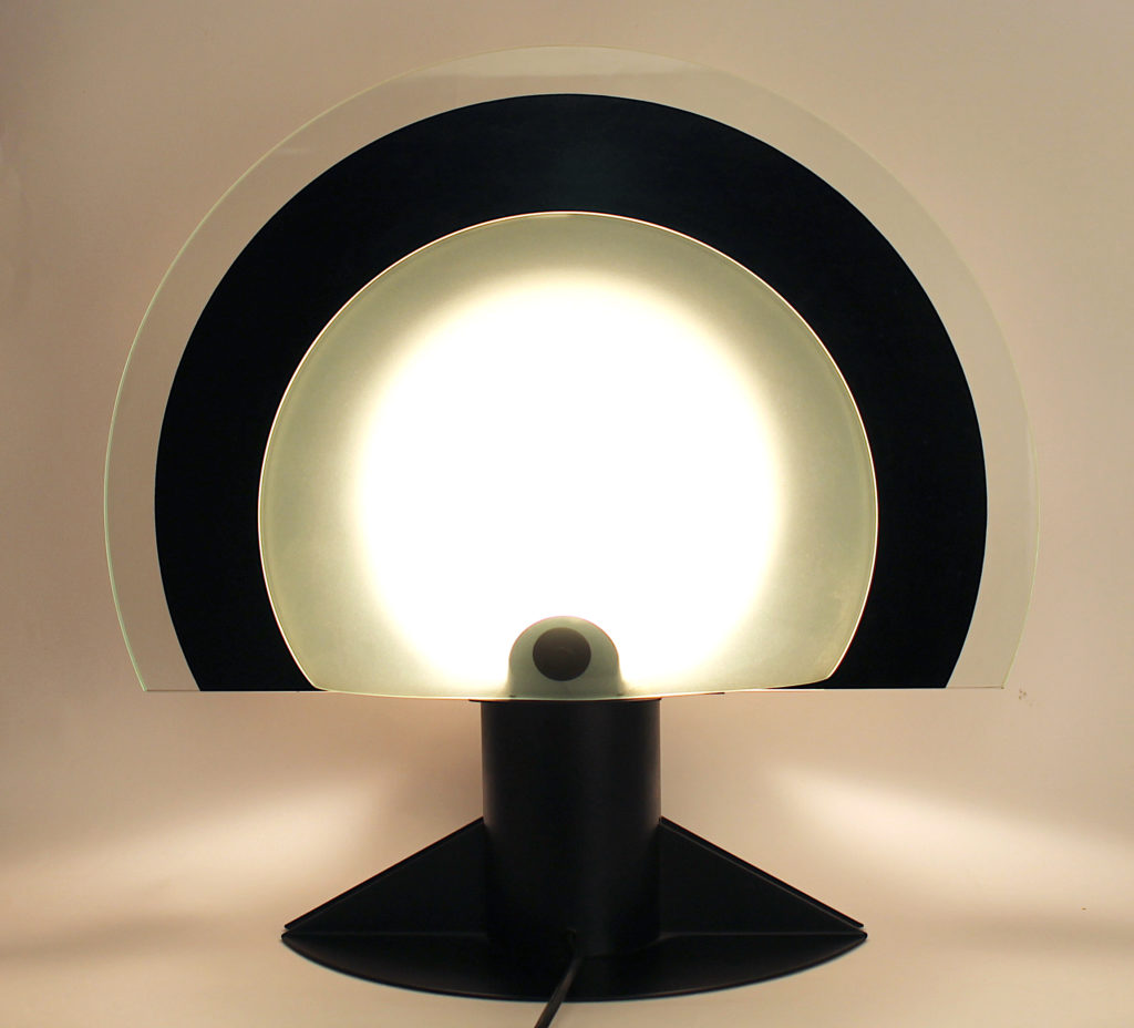 Murano black and white table lamp from 80s
